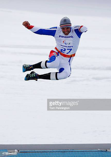 Vincent Gauthier-Manuel of France celebrates winning the gold medal in the Men's Giant Slalom Standing during day eight of the Sochi 2014 Paralympic...
