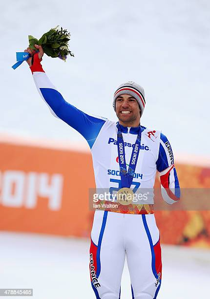 Vincent Gauthier-Manuel of France celebrates winning the gold medal during the medal ceremony for the Men's Giant Slalom Standing during day eight of...