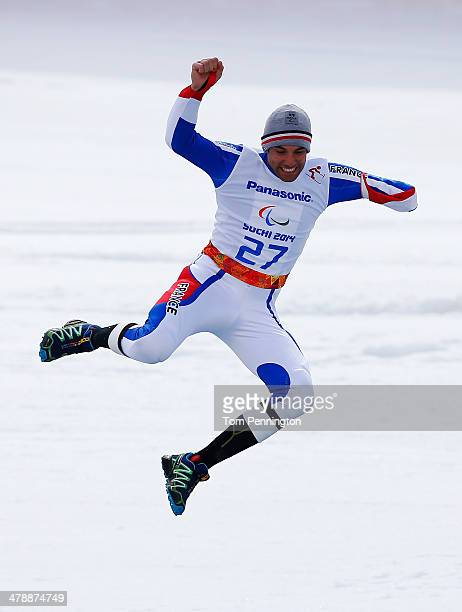 Vincent GauthierManuel of France celebrates winning the gold medal during the medal ceremony for the Men's Giant Slalom Standing during day eight of...