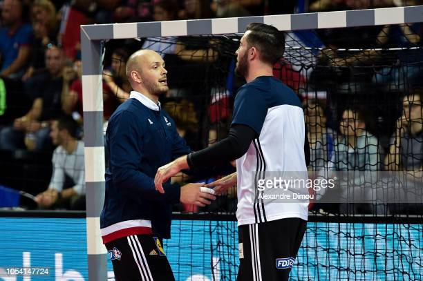 Vincent Gerard and Cyril Dumoulin of France during the European Championship 2020 Qualifying match between France and Lithuania on October 25 2018 in...