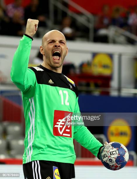 Vincent Gerard goalkeeper of France celebrates during the Men's Handball European Championship main round match between Sweden and France at Arena...