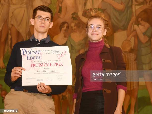 Vincent Grange and Margot Lourdet during Poesie En Liberté 2019 Awards Ceremony At Mairie Du 5eme on November 23 2019 in Paris France