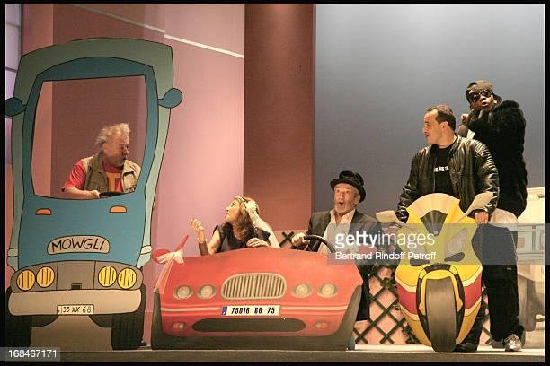 "Vincent Grass, Nicole Calfan, Patrick Prejean, Mehdi and Achille Ndari at Full Dress Rehearsal Of Laurent Baffie's Theater Play ""Un Point C'Est Tout""..."