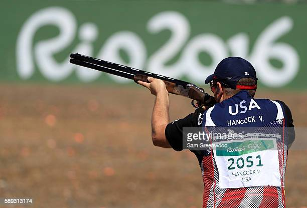 Vincent Hancock of the United States competes in the qualification match for the skeet event on Day 8 of the Rio 2016 Olympic Games at the Olympic...