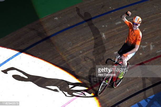 Vincent Hoppezak of the Netherlands celebrates victory in the Under21's 1878 Cup during Day 2 of the London Six Day Race at Lee Valley Velopark...