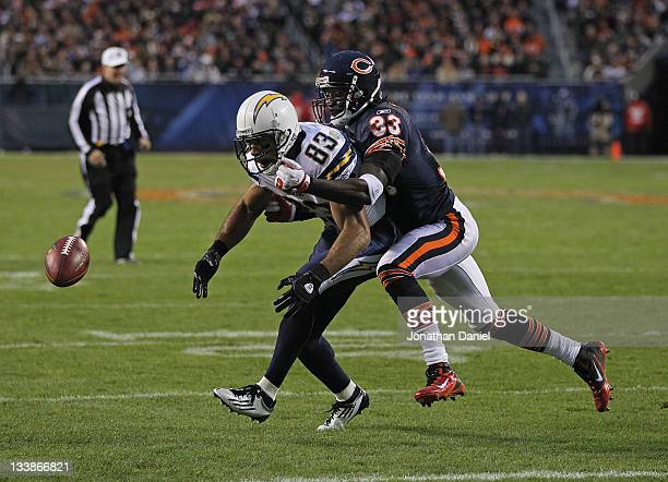 Vincent Jackson of the San Diego Chargers drops a pass under pressure from Charles Tillman of the Chicago Bears at Soldier Field on November 20 2011...