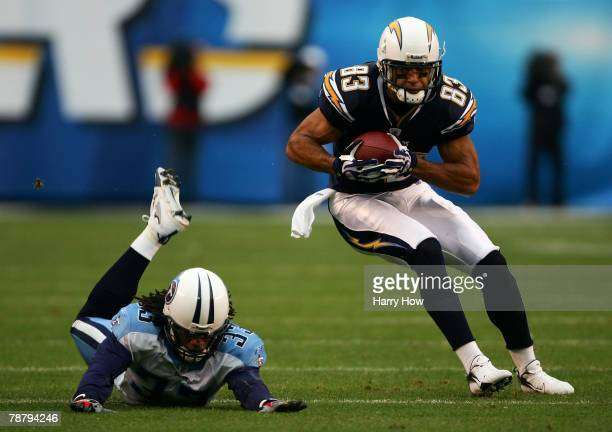 Vincent Jackson of the San Diego Chargers makes a catch in the second half against Michael Griffin of the Tennessee Titans during their AFC Wild Card...
