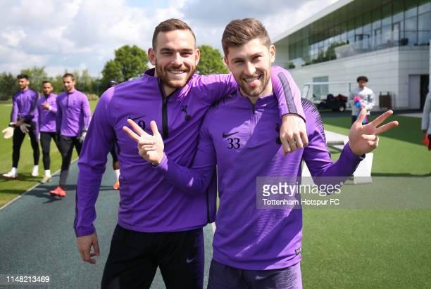 Vincent Janssen and Ben Davies of Tottenham Hotspur during the Tottenham Hotspur training session at Tottenham Hotspur Training Centre on May 10,...
