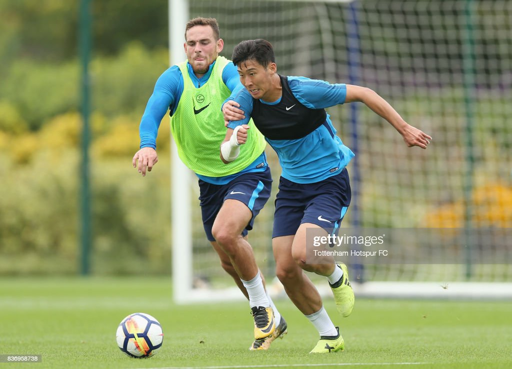 Vincent Janssen and Heung-min Son of Tottenham during a Tottenham Hotspur training session at Tottenham Hotspur Training Centre on August 22, 2017 in Enfield, England.