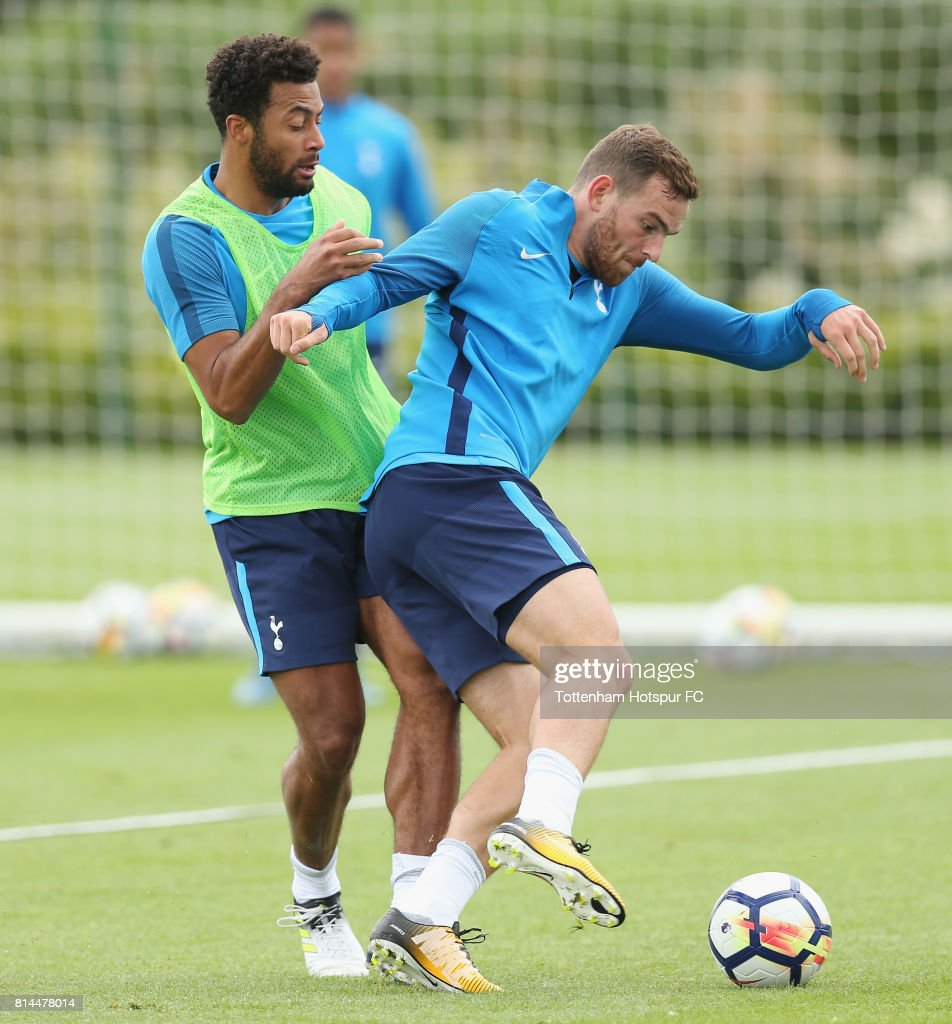 Vincent Janssen and Mousa Dembele of Tottenham during the Tottenham Hotspur training session at Tottenham Hotspur Training Centre on July 14, 2017 in Enfield, England.