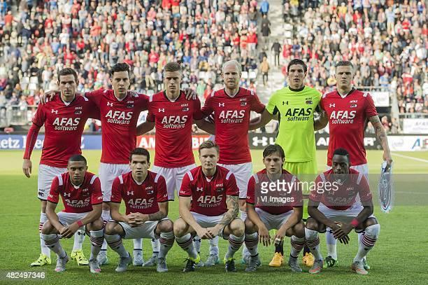 Vincent Janssen of AZ Alkmaar, Thom Haye of AZ Alkmaar, Markus Henriksen of AZ Alkmaar, Jop van der Linden of AZ Alkmaar, Goalkeeper Sergio Rochet of...
