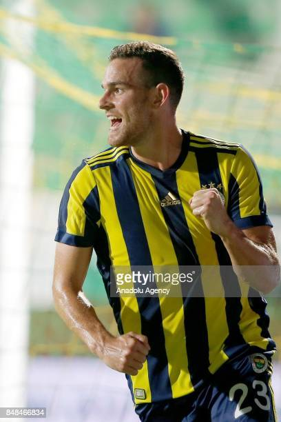 Vincent Janssen of Fenerbahce celebrates his score during a Turkish Super Lig's 5th week match between Aytemiz Alanyaspor and Fenerbahce at the...
