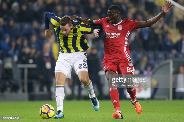 Vincent Janssen of Fenerbahce Delvin Ndinga of Sivasspor during the Turkish Super lig match between Fenerbahce v Sivasspor at the Sukru...