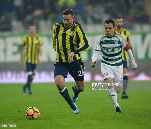 Vincent Janssen of Fenerbahce Pablo Batalla of Bursaspor during the Turkish Super lig match between Bursaspor v Fenerbahce at the Timsah Arena on...