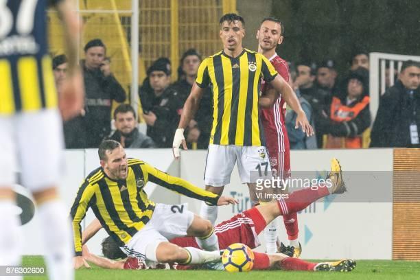 Vincent Janssen of Fenerbahce SK Hakan Arslan of Demir Grup Sivasspor Nabil Dirar of Fenerbahce SK Sergiy Rybalka of Demir Grup Sivasspor during the...