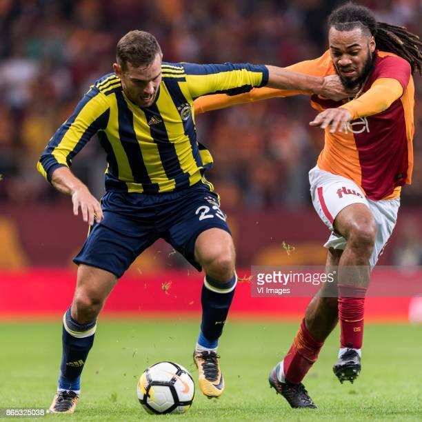 Vincent Janssen of Fenerbahce SK Jason Gregory Denayer of Galatasaray SK during the Turkish Spor Toto Super Lig football match between Galatasaray SK...
