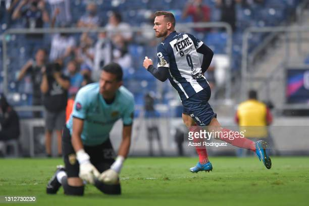 Vincent Janssen of Monterrey celebrates after scoring his team's second goal over Odalis Báez of Atlético Pantoja during a second leg match between...