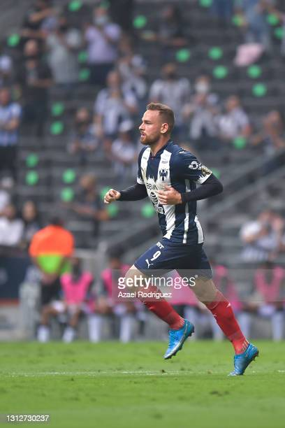 Vincent Janssen of Monterrey celebrates after scoring his team's second goal during a second leg match between Monterrey and Atletico Pantoja as part...