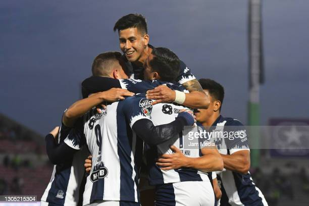 Vincent Janssen of Monterrey celebrates after scoring the first goal of his team with teammates during the 9th round match between FC Juarez and...