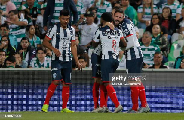 Vincent Janssen of Monterrey celebrates with his teammates after scoring the first goal of his team during the quarterfinals second leg match between...