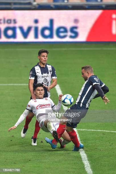 Vincent Janssen of Monterrey fights for the ball with Vladimir Loroña of Tijuana during the 8th round match between Monterrey and Tijuana as part of...