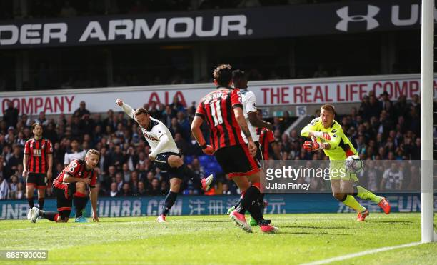 Vincent Janssen of ottenham Hotspur scores his sides fourth goal during the Premier League match between Tottenham Hotspur and AFC Bournemouth at...