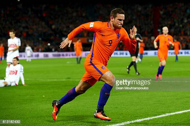Vincent Janssen of the Netherlands celebrates scoring his teams fourth goal of the game during the FIFA 2018 World Cup Qualifier between Netherlands...