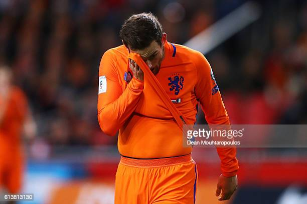 Vincent Janssen of the Netherlands looks dejected after a missed chance on goal during the FIFA 2018 World Cup Qualifier between Netherlands and...