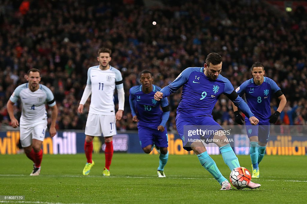 Vincent Janssen of the Netherlands scores his team's first goal from a penalty kick during the International Friendly match between England and the Netherlands at Wembley Stadium on March 29, 2016 in London, England.