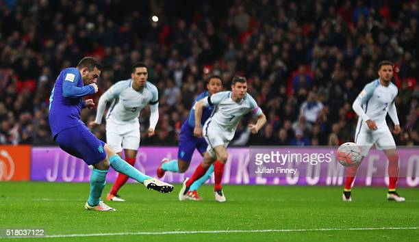Vincent Janssen of the Netherlands scores the equalising goal from a penalty during the International Friendly match between England and Netherlands...