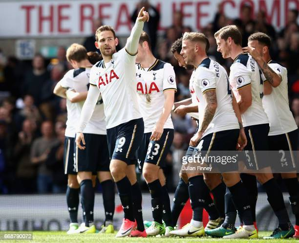 Vincent Janssen of Totteham Hotspur celebrates scoring his sides fourth goal with his Tottenham Hotspur team mates during the Premier League match...