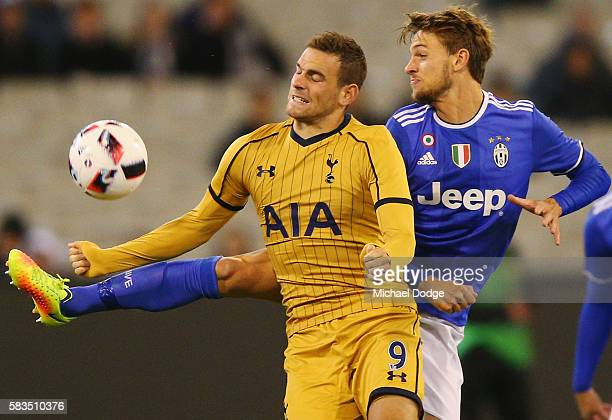 Vincent Janssen of Tottenham competes for the ball during the 2016 International Champions Cup match between Juventus FC and Tottenham Hotspur at...