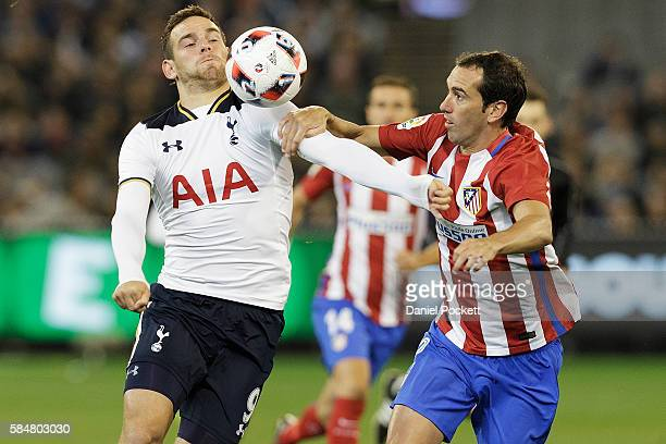 Vincent Janssen of Tottenham Hotspur and Hector Diego Godn of Atletico de Madrid compete for the ball during 2016 International Champions Cup...