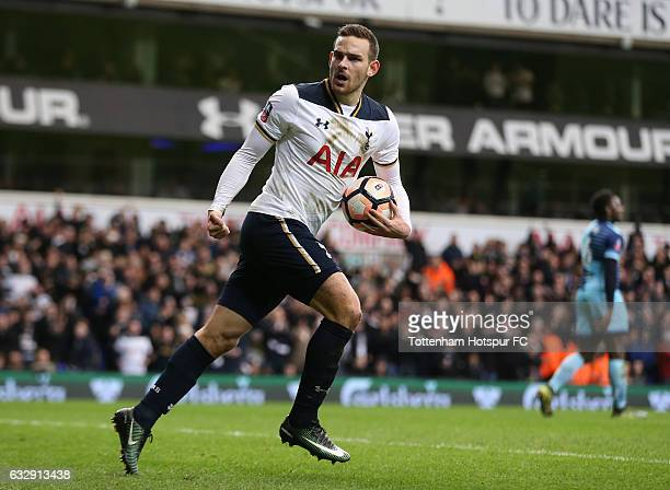 Vincent Janssen of Tottenham Hotspur celebrates after scoring his sides second goal during the Emirates FA Cup Fourth Round match between Tottenham...