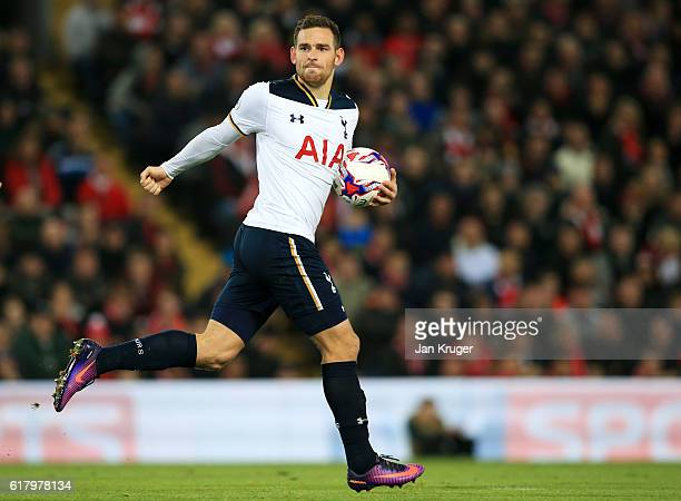 Vincent Janssen of Tottenham Hotspur celebrates scoring his sides first goal during the EFL Cup fourth round match between Liverpool and Tottenham...