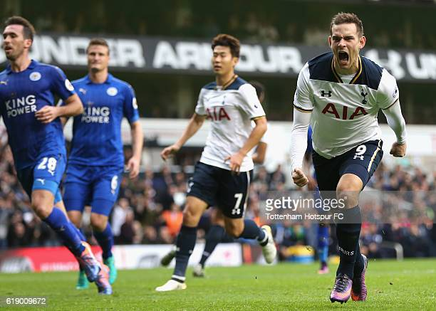 Vincent Janssen of Tottenham Hotspur celebrates scoring his sides first goal during the Premier League match between Tottenham Hotspur and Leicester...