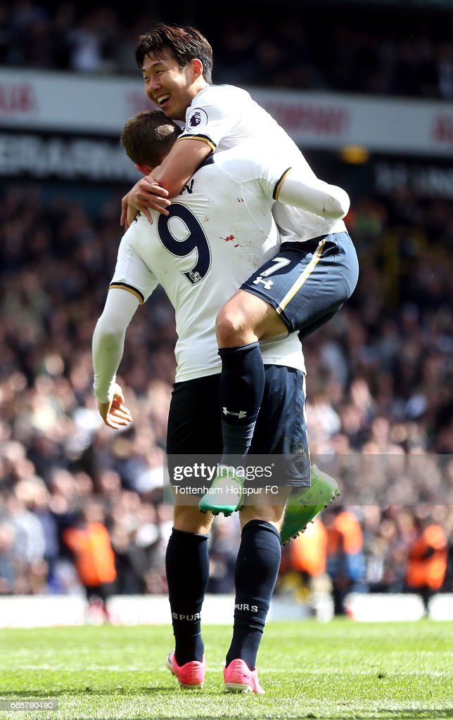 Vincent Janssen of Tottenham Hotspur celebrates scoring his sides fourth goal with Heung-Min Son of Tottenham Hotspur during the Premier League match between Tottenham Hotspur and AFC Bournemouth at White Hart Lane on April 15, 2017 in London, England.