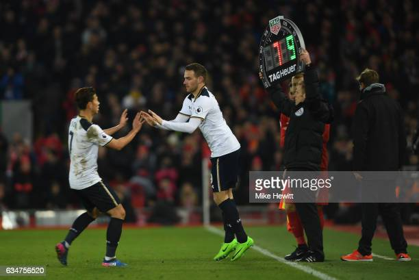 Vincent Janssen of Tottenham Hotspur comes on for HeungMin Son during the Premier League match between Liverpool and Tottenham Hotspur at Anfield on...
