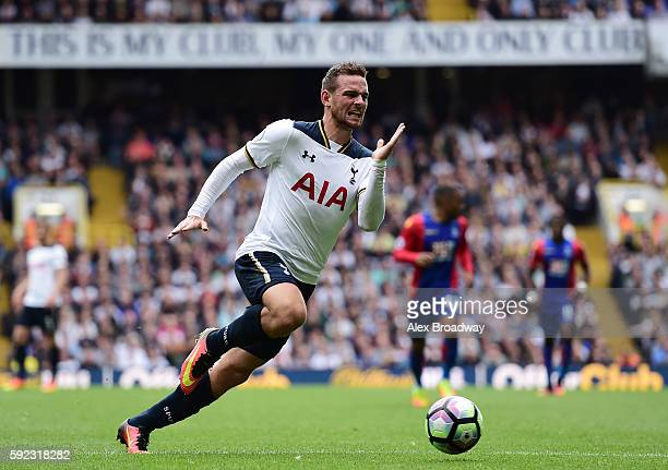 Vincent Janssen of Tottenham Hotspur in action during the Premier League match between Tottenham Hotspur and Crystal Palace at White Hart Lane on...