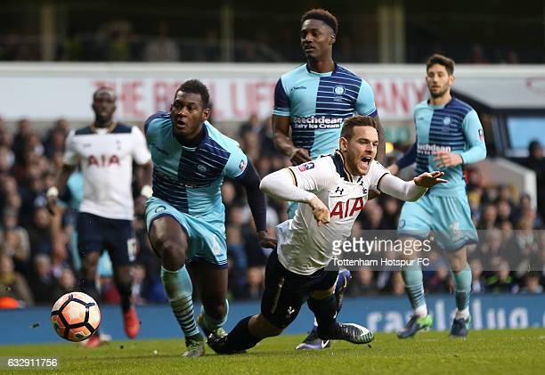 Vincent Janssen of Tottenham Hotspur is challenged by Aaron Pierre of Wycombe Wanderers in the penalty area during the Emirates FA Cup Fourth Round...
