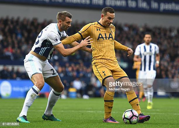 Vincent Janssen of Tottenham Hotspur is closed down by Gareth McAuley of West Bromwich Albion during the Premier League match between West Bromwich...