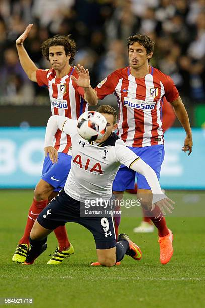 Vincent Janssen of Tottenham Hotspur is taken down during 2016 International Champions Cup Australia match between Tottenham Hotspur and Atletico de...