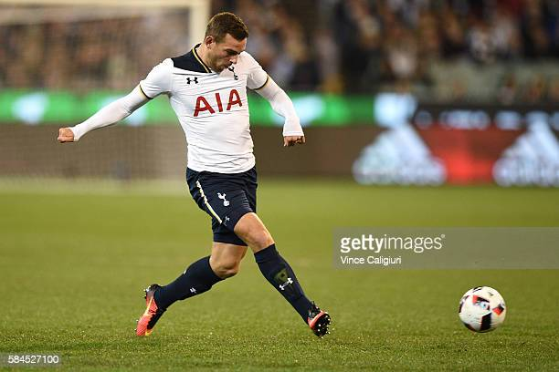 Vincent Janssen of Tottenham Hotspur passes the ball during 2016 International Champions Cup Australia match between Tottenham Hotspur and Atletico...