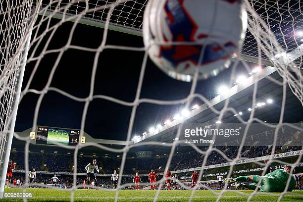 Vincent Janssen of Tottenham Hotspur scores his sides fourth goal from the penalty spot during the EFL Cup Third Round match between Tottenham...