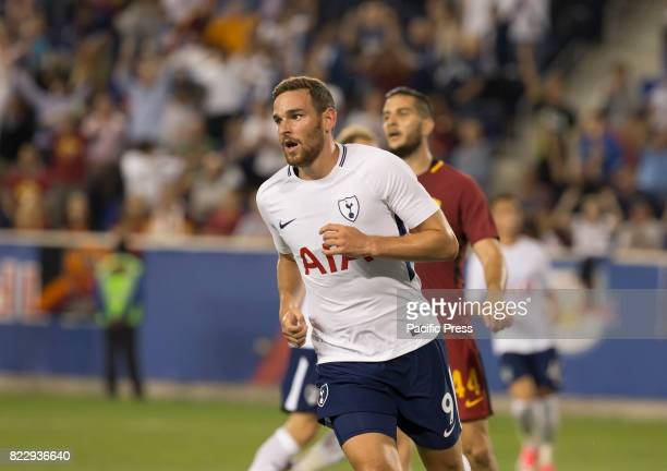 Vincent Janssen of Tottenham Hotspurs celebrates scoring goal during International Champions Cup game against AS Roma on Red Bulls Arena Roma won 3 2