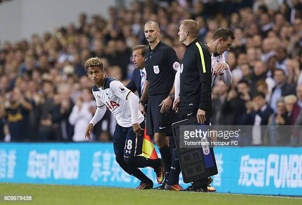 Vincent Janssen of Tottenham is substituted for Marcus Edwards during the EFL Cup Third Round match between Tottenham Hotspur and Gillingham at White...