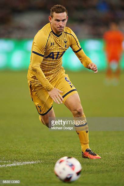Vincent Janssen of Tottenham runs for the ball during the 2016 International Champions Cup match between Juventus FC and Tottenham Hotspur at...