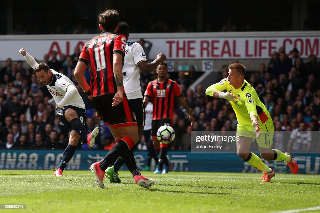 Vincent Janssen of Tottenham scores the fourth goal during the Premier League match between Tottenham Hotspur and AFC Bournemouth at White Hart Lane on April 15, 2017 in London, England.