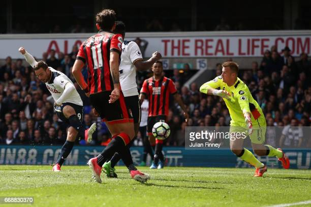 Vincent Janssen of Tottenham scores the fourth goal during the Premier League match between Tottenham Hotspur and AFC Bournemouth at White Hart Lane...