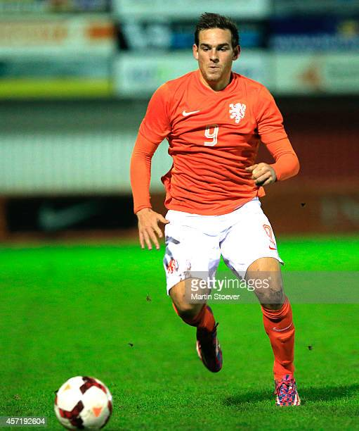 Vincent Janssen of U20 Netherlands during the match between U20 Netherlands v U20 Germany at Sportpark de Bosk on October 13 2014 in HarkemaOpeinde...